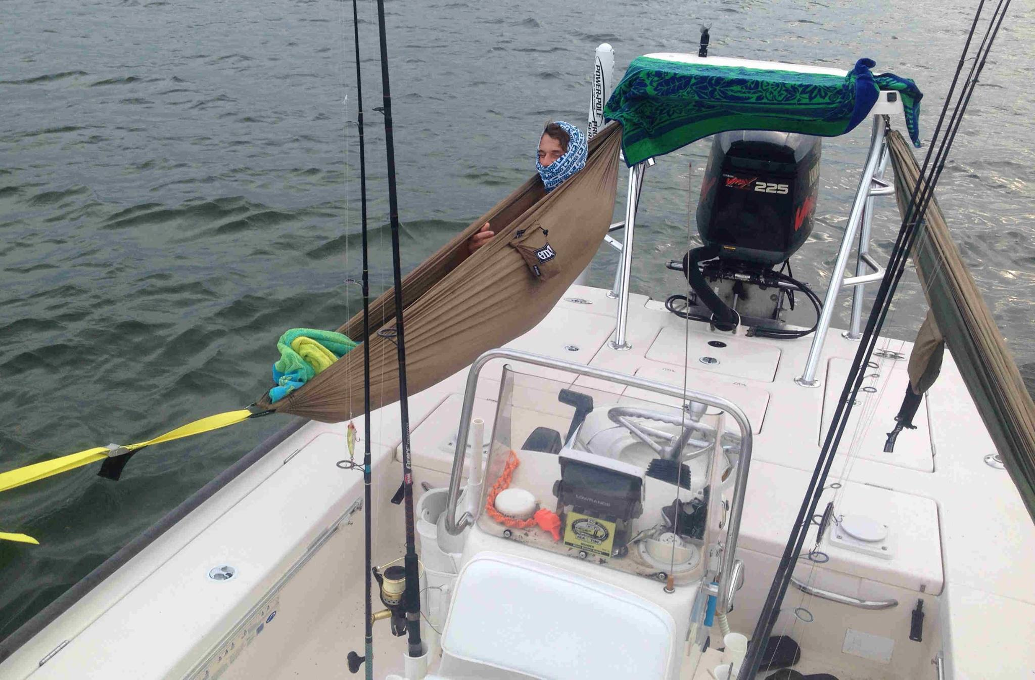 Diy skiff hammock for camping and fishing overnight trips for Fish camping boat