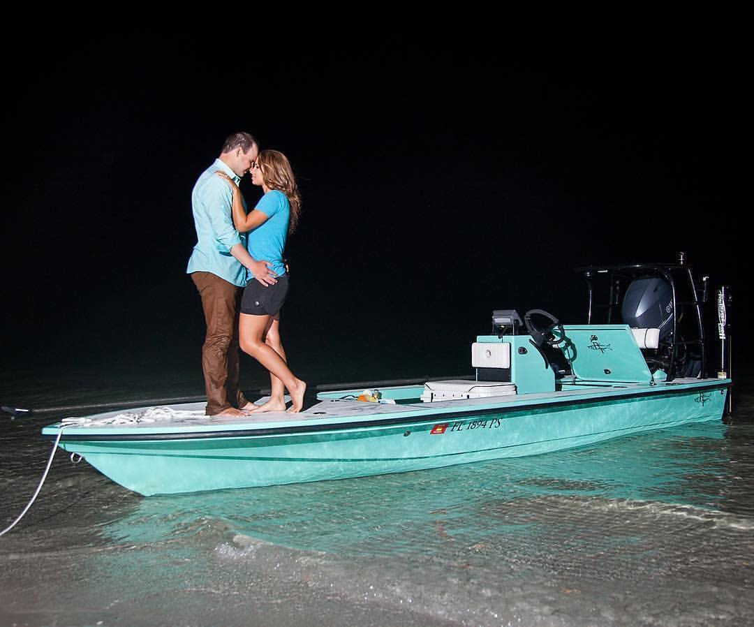 Marriage Proposal on a Beavertail Skiff