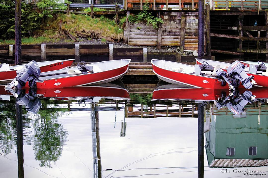Skiffs are not only used for pleasure in Alaska, they're also a way of transport...