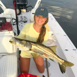 My sister  claimed some nice reds and this solid snook on light tackl…