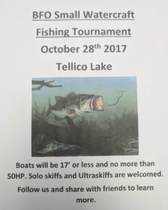 Bass tournament for small watercraft. Save the date for lots of Fun and the chan…