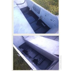 Masked and coated the bilge area with Dupli-Color Bed Armor. Water-Based Polyure…
