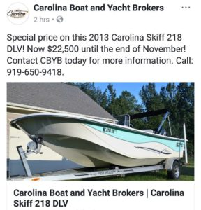 Carolina Skiff – New price for the rest of the month on this 2013 Carolina Skiff 218 DLV – Now $2…