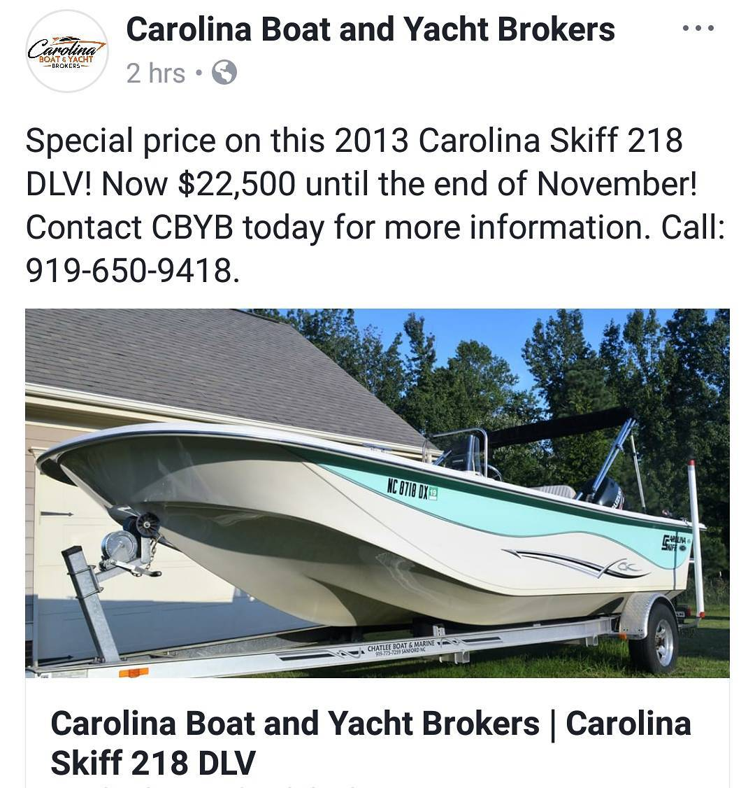 Carolina Skiff - New price for the rest of the month on this 2013 Carolina Skiff 218 DLV - Now $2...