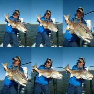 The many faces of hoisting  of redfish up for a photo.  Top left was the final p…