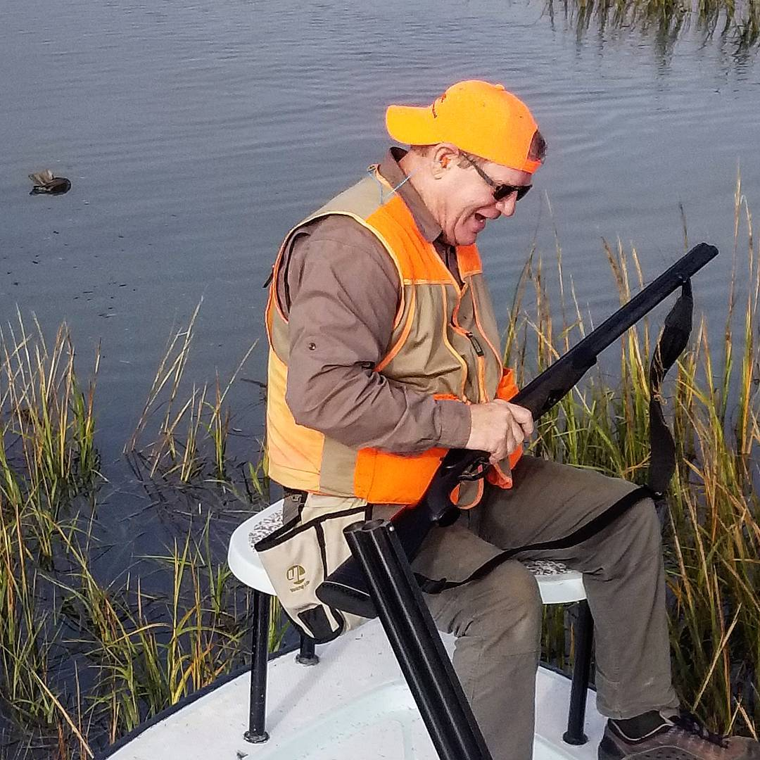Having some laughs in the marsh while poling up to retrieve our birds.  Always a...
