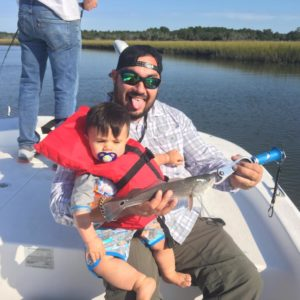 First fishing trip with my son!! Went good!!! Caught a puppy drum first fish pic…