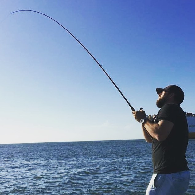 The hookup on 15lb  and   reel before a long, grueling fight with a 40lb big Ugl...