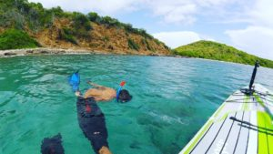 Snorkeling/spearfishing is easier with inflatable paddleboard as a mothership!  …