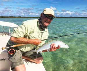 Scott Fischer from Alaska fly-fishing for Bonefish with Docky today …. this is