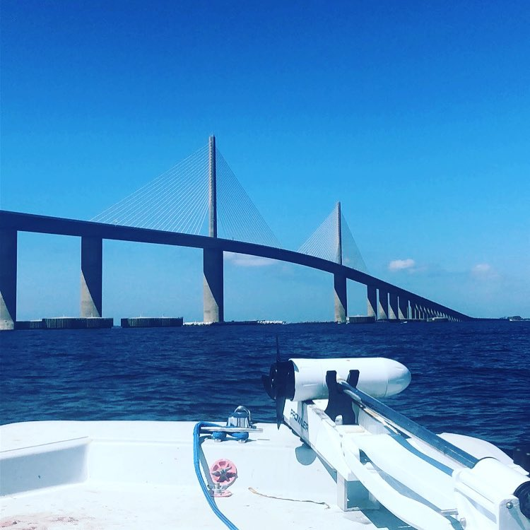 Skiff life!!! First time crossing under skyway!!!