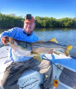 """Personal best 42″ snook on a 4"""" Jerk Shadz from @zmanfishingproducts"""