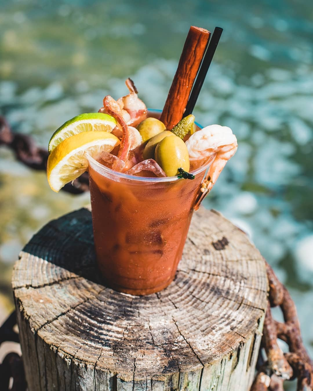 """The """"Trailer Trash Bloody Mary"""" made at the  with house infused cucumber vodka b"""