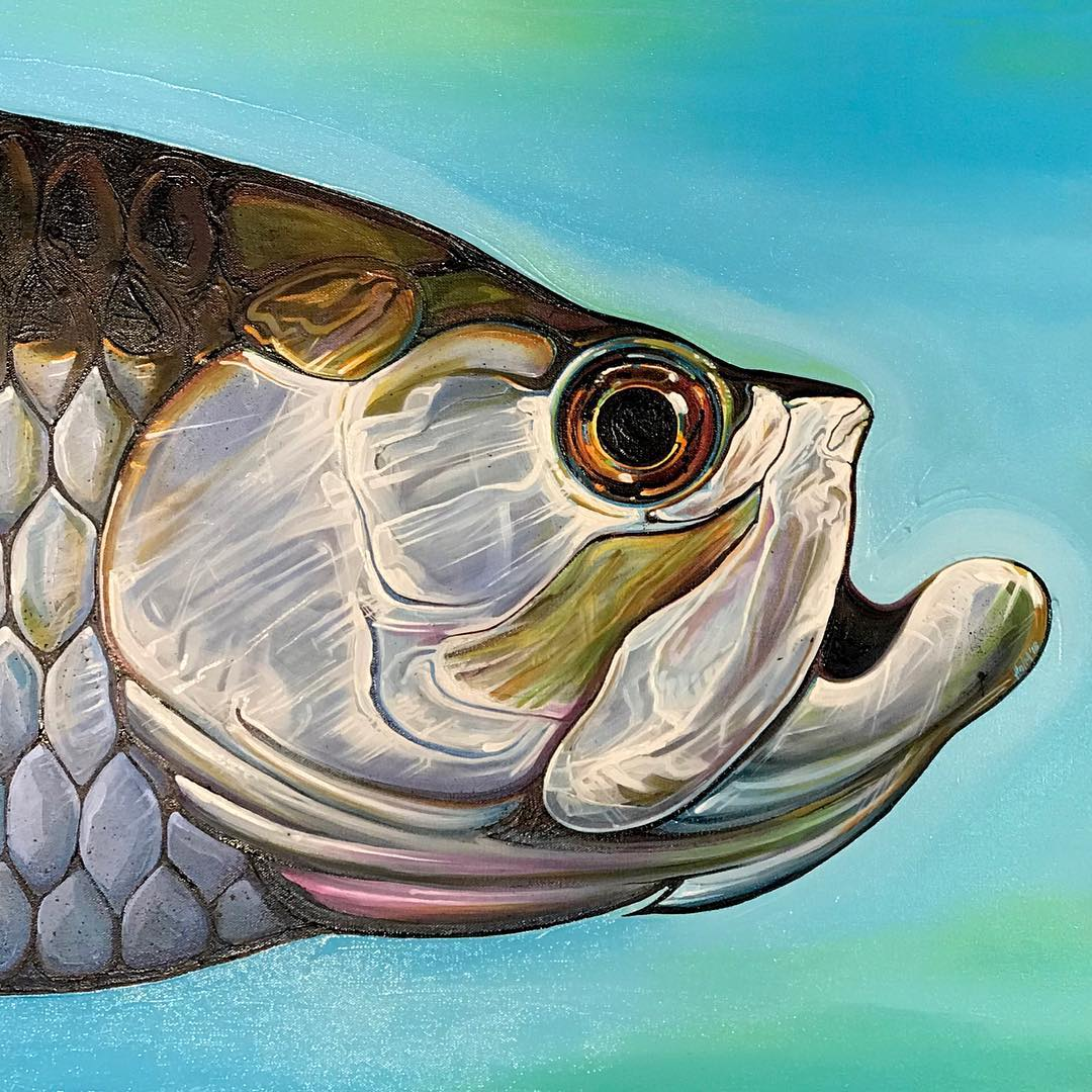 this past weekend. Finished up my first tarpon painting, creatively named...T1.