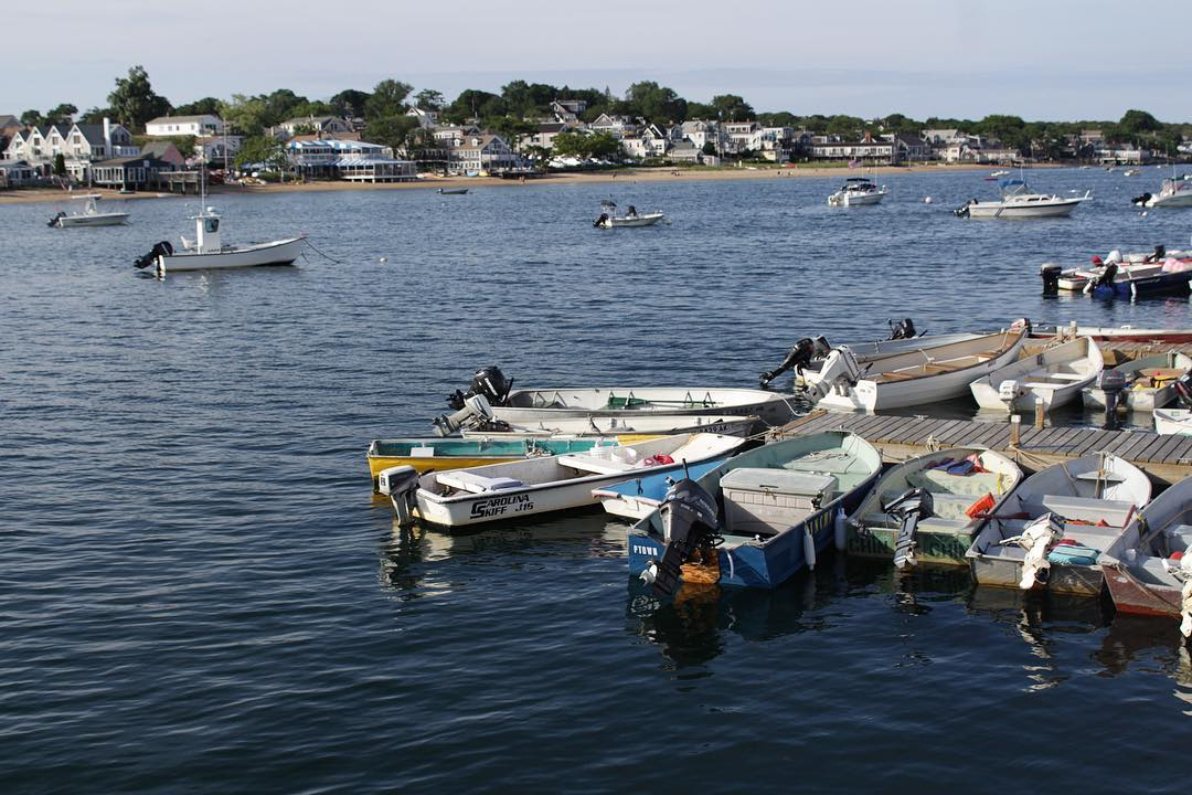 How many outboards do you see that are not trimmed out of the water? PS, don't b