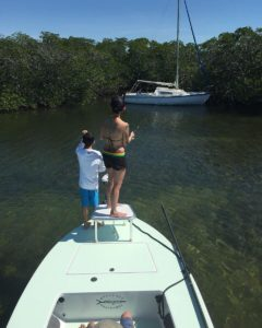 Nothing beats some mom-son quality time on the pointy end of the skiff!