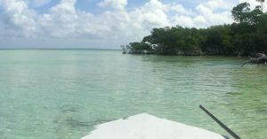 Standing on the bow of a skiff in the Florida Keys = Perfect